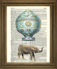 ELEPHANT DICTIONARY ART PRINT Flying in Montgolfier Hot Air Balloon!