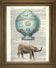 Dizionario di elefanti ART PRINT volare in MONTGOLFIER HOT AIR BALLOON!