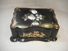 Antique Desktop Papier Mache Stationery Box , Letter Box , Mother of Pearl 2102