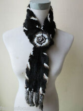 free shipping /real   mink fur knitted scarf  (black with natural  White border