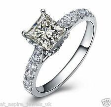 1.75 CT PRINCESS CUT DIAMOND SOLITAIRE ENGAGEMENT RING SOLID 14K WHITE GOLD