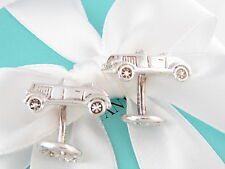 Auth Tiffany & Co Silver Vintage Rolls Royce Car Cufflinks Box Pouch Card