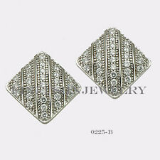 Sterling Silver 925 Rectangle Stud Screwback Earrings with Clear CZ 9mm #0225B