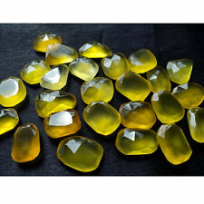 Chalcedony Rose Cut Yellow Flat Cabochons Rose Cut Gemstones Each 11 Pieces RS5