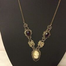 Vintage Victorian shell Cameo amethyst crystal filigree necklace deceased estate