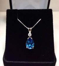 BEAUTIFUL Swiss Blue Topaz & White Sapphire Sterling Silver Pendant Necklace NWT