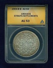 STRAITS SETTLEMENTS EDWARD VII 1904-B 1 DOLLAR SILVER COIN ANACS CERTIFIED AU-53