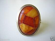 Antiker 800 Silber Ring Natur Bernstein-Mosaik Handarbeit 9,4 g / 18,5 mm Amber