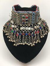 Vintage Afghan Kuchi Tribal Jingle Bells Chain Boho ATS Choker Necklace, KC464