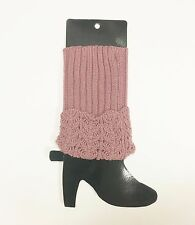 """NEW 10"""" MAUVE,PALE PURPLE TEXTURED WOVEN,KNITTED LEG WARMER,LEGGINGS,BOOT COVER"""