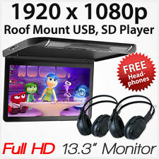 "13.3"" Car Monitor USB SD Card Player HDMI Roof Mount In Car Flip Down Vehicle AT"