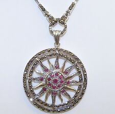 VINTAGE STYLE! Genuine African Ruby & Marcasite Sun Pendant Sterling Silver 925!