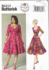 Vtg 50s Retro Sweetheart Neck Princess Seam Sew Pattern by Gertie 14 16 18 20 22