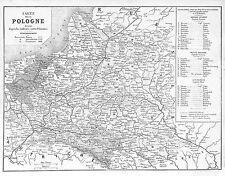 POLOGNE POLAND CARTE MAP GRAVURE ILLUSTRATION 1863