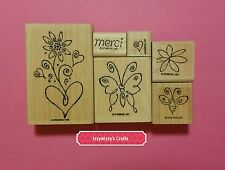 Stampin Up MERCI floral blooms blossoms flowers butterfly heart (605)