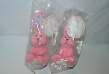 2 STARBUCKS COFFEE 2007 PLUSH 6 INCH HOPPER RABBIT PINK EASTER BUNNY PAIR NEW