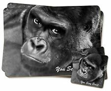 Gorilla 'You Sexy Beast' Twin 2x Placemats+2x Coasters Set in Gift Box, AM-12PC