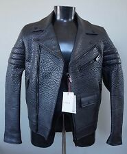 BALLY Black Pebbled Leather Motorcycle Biker 2015 Jacket Coat 8 US S NWT $3,995