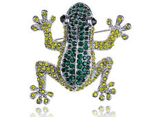 GB Poison Dart Frog Amazon Emerald Peridot Green Diamante Rhinestone Pin Brooch