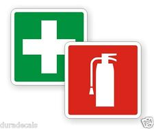 "2"" Fire Extinguisher / First Aid Kit on Board Vinyl Decals / Stickers Pair"
