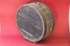 ANTIQUE AUTHENTIC PRIMITIVE CWE HANDMADE CANTEEN FLASK KEG IRON BANDED .