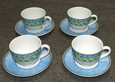 4 SETS WEDGWOOD HOME PORCELAIN WATERCOLOUR CUPS & SAUCERS, MINT