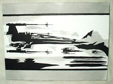 Canvas Painting Star Wars Episode 7 Trailer X Wing Fighters B&W Art 16x12 inch