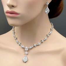 White Gold GP Clear Zirconia CZ Wedding Necklace Pendant Earrings Jewelry Set 20