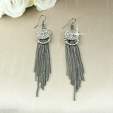 E9 1920s Style Gunmetal 10cm Long Dangle Tassel Hook Earrings with Crystals