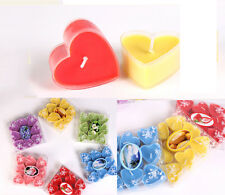 9 Pcs Cup Fruit Scented Candles Heart Shape Wedding Birthday Party Candle BLUE