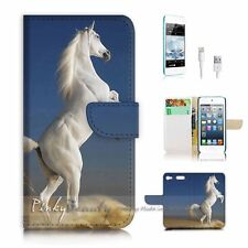 iPod Touch 6 iTouch 6 Flip Wallet Case Cover! P0064 White Horse