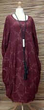 LAGENLOOK*BELLA BLUE*COTTON MIX BEAUTIFUL BALLOON 2 POCKETS DRESS*MAROON* L-XL