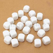 25Pcs 16mm DIY Blank Gaming Dice White Standard Six Sided D6 Crafe Plastic Cubes