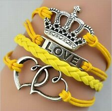 NEW Hot Infinity Love Anchor Leather Cute Charm Bracelet plated Silver DIY SL165