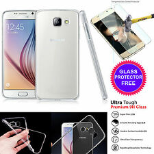 Clear TPU Gel Silicone Skin Cover+2Tempered Glass for Samsung Galaxy J3 2016