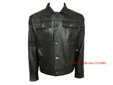 Large Size Men's Soft Napa Leather Jeans Style Jacket New LLL-210