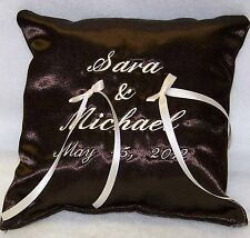 New Personalized Brown Wedding Pillow Ring Bearer Pillow Western Theme Gift