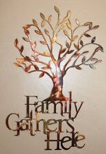 "Family Gathers Here Olive Tree 21 1/2"" x 14"" Metal Wall Art Copper/Bronze"