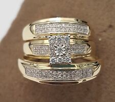 His Her Mens Woman Diamonds Wedding Ring Bands Trio Bridal Set 10k Yellow Gold