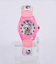 Kids Girls Hello Kitty Light Pink Wrist Watch Analog Leather Strap UK SELLER