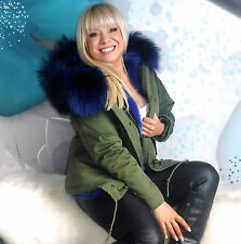 Mr & Mrs UNISEX MILITARY STYLE PARKA ROYAL BLUE REAL FOX FUR size  M/L UK12-14