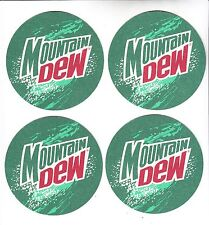4 Mountain Dew Coasters from 1998 with Jim Beam Liquor Add on Reverse NEW