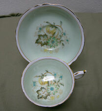 Vintage Paragon Bone China Cup & Saucer Autumn Flowers Leaves Light Green Gold