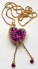 Purple rose golden chain heart crystal necklace USB 2.0 64GB