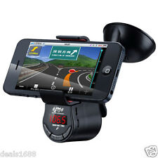 Car Kit FM Transmitter Handsfree Speaker Charger MP3 Player Phone Mount Holder