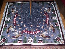 "Vintage Christmas Tree Skirt Tapestry Angels Square Fringed Large 50"" x 50"""