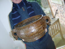 """HUGE CHINESE BRONZE CENSER """"AMAZING DETAIL"""" WEIGHS OVER 5 KILO MASSIVE VERY RARE"""