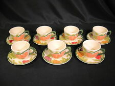 Franciscan Fresh Fruit Pattern Cups and Saucers Set of 7