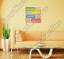 "Beach Surf Relax Wooden Panel Vacation Wall Sticker Room Interior Decor 22""X22"""