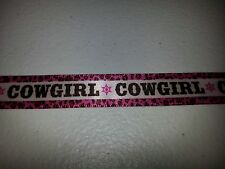 "THE PAPER STUDIO - COWGIRL RIBBON - 5/8"" -  2 YARDS - PINK - CHEETAH PRINT"